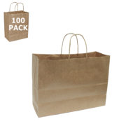 Pinstripe Vogue Paper Shopping Bag-100 Pack Kraft Paper Vogue Size Shopping Bag-100 Pack