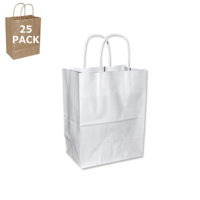 White Paper Cub Size Shopping Bag-25 Pack