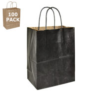 Black Kraft Cub Paper Shopping Bag-100 Pack