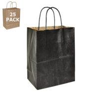 Black Kraft Cub Paper Shopping Bag-25 Pack