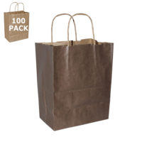 Chocolate Cub Paper Shopping Bag-100 Pack