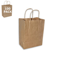 Pinstripe Kraft Cub Paper Shopping Bag-100 Pack