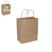 Kraft Paper Cub Size Shopping Bag-25 Pack