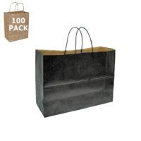Black Kraft Vogue Paper Shopping Bag-100 Pack