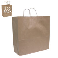 Kraft Paper Jumbo Size Shopping Bag-100 Pack