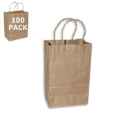 Kraft Paper Gem Size Shopping Bag-100 Pack