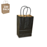 Black Gem Size Paper Shopping Bag-100 Pack