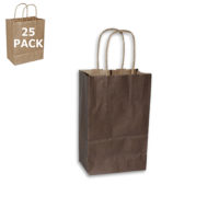 Chocolate Kraft Gem Size Shopping Bag-25 Pack