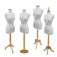 Dress Form Set with Natural Wood