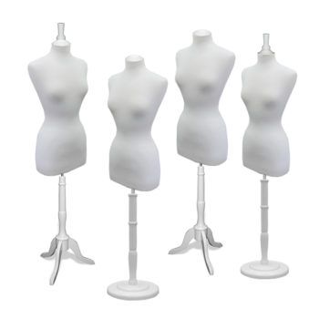 Dress Form Set with White Wood