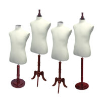 Male Coat Form Set Mahogany Wood
